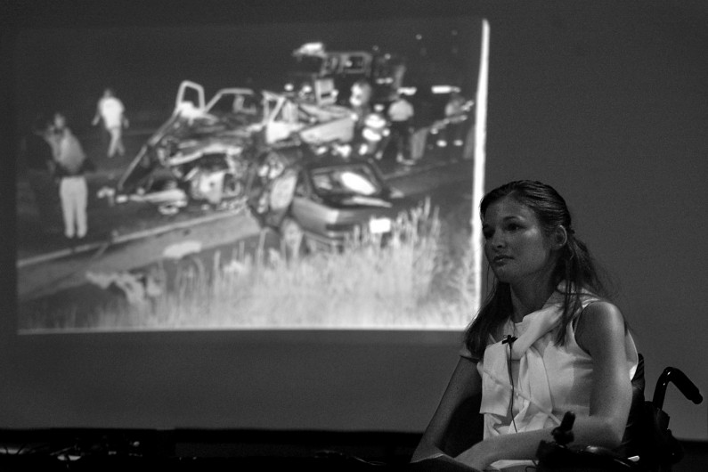 "Kelly has given more than 200 speeches since the 1999 accident. During her speeches, she gives a slide show that includes a photo of the crash. ""I know this is why God put me in the chair,"" she said. ""This is a blessing."""