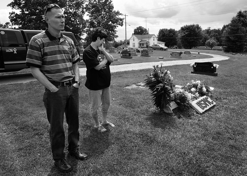 Five days after the funeral, Euclide visited the Lueken family and made a stop at the St. Raphael Cemetery in Dubois to see the flowers and items left on Eric's grave.