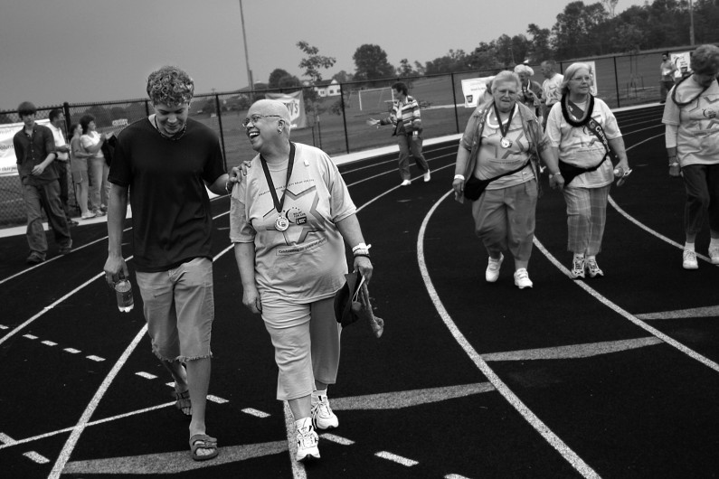 Despite being sick from her last chemotherapy treatment, Marsha attended Relay for Life and walked the survivors lap with the support of her son, Andy, 22.
