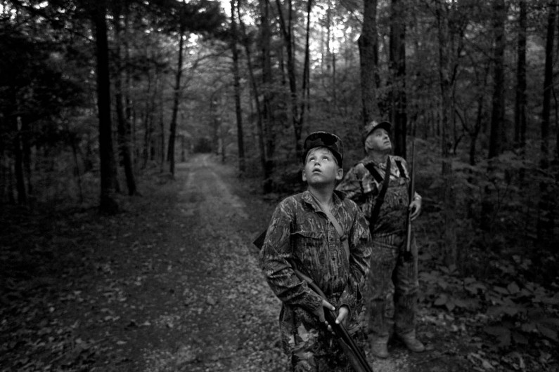Levi Hulsman, 11, of Jasper, and his grandfather Ed Durcholz, 68, of Ireland, were in the woods by dawn to open the squirrel hunting season, which runs through January. They saw deer, wild turkey and a pair of box turtles but squirrels were scarce and the hunters went home with empty bags. Durcholz said record-low temperatures in the spring stunted nut growth and the squirrels are more spread out in search of food.