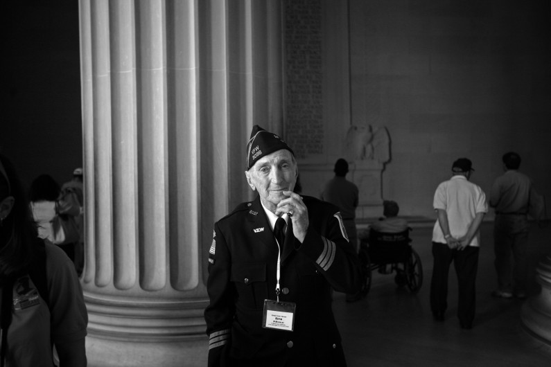 "Kevin McNicholas of St. Charles, was dapper in his American Legion Honor Guard uniform as he took in the Lincoln Memorial in Washington D.C. McNicholas was among 80 veterans who flew to D.C. with  ""Honor Flight Chicago,"" which brings World War II vets to the World War II Memorial."